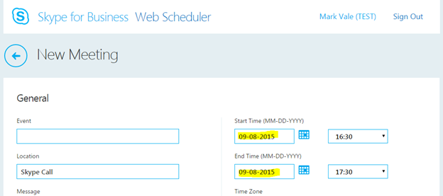 Skype for Business – Change Web Scheduler Date Format to UK