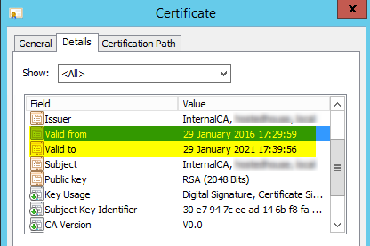 Skype for businesserror constructing or publishing certificate uc now next on the list of advices from the error was to check the registry validity period on the certificate authority server you can check the values by yadclub Gallery